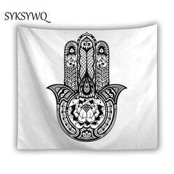 Hamsa Hand Wall Hanging Tapiz Wandteppich Blacke and White Blanket Indian Mandala Lotus Tapastry