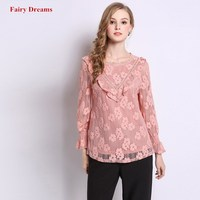 Women Lace Shirt Spring Autumn New Style Tops Long Sleeve Pink Blouse 2019 Office Lady Fashion Plus Size Blusa 5XL Fairy Dreams