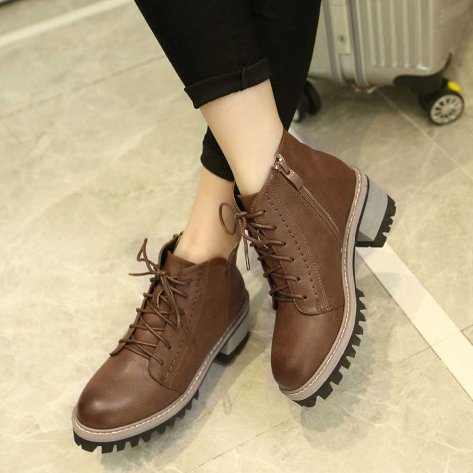 Newest Women Winter Boots High Quality Leather Lace Up Ankle Boots Warm Comfortable Footwear Shoes Ladies