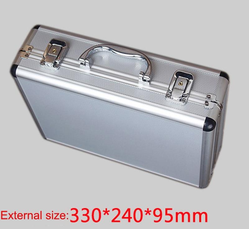 Купить с кэшбэком toolbox aluminium tool case magic props file storage Hard carrying box Hand Gun case Locking Pistol with foam 33*24*9.5 CM