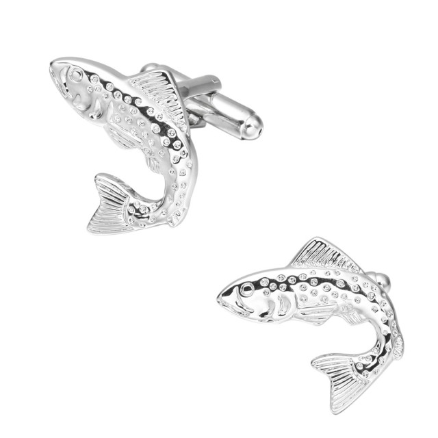 Memolissa Silver Plated Fish Cufflinks Animal Cufflink Fancy Shirt
