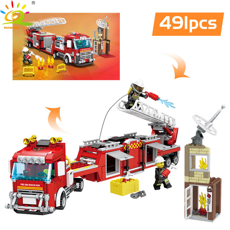 US $22 87 38% OFF|HUIQIBAO Toys 400+pcs 2in1 Fire Fighting Trucks Building  Blocks For Children Compatible Legoingly City Firefighter figure Bricks-in