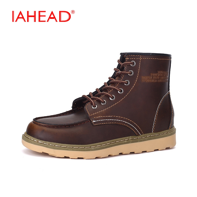 IAHEAD Men Boots Martin Casual Botas Cowboy Boots Mens High Quality Leather Winter Casual Shoes sapatos masculino  MH528 iahead men boots genuine leather casual shoes lace up winter shoes men high quality mens tactical boots botas hombre mu541