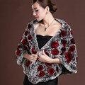 Дамы элегантные длинные реального рекс кролика мыса, 2016 зима новый мода роза натуральный мех шаль, пашмины для женщин