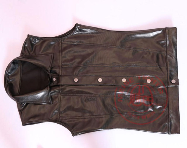 Sexy Men Faux Leather Slim Vest Black PVC Shiny Tank Tops Punk Club Dance Wear Light Standard Cool Wear Male Tees Plus Size NC99 6