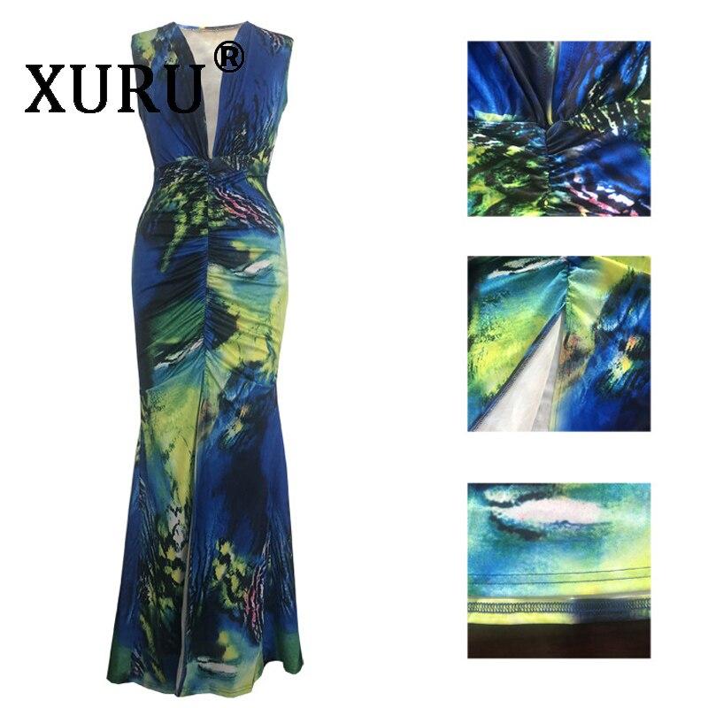 XURU digital print V neck dress summer sexy dress hot fashion women 39 s dress in Dresses from Women 39 s Clothing