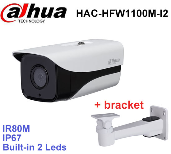 Dahua HDCVI Camera DH-HAC-HFW1100M-I2 HD720P 1MP built-in 2 leds IR distance 80m security cctv Bullet Camera with bracket dahua outdoor indoor hdcvi camera dh hac hdw1100e 1mp hd network ir security cctv dome camera ir distance 40m hac hdw1100e ip67