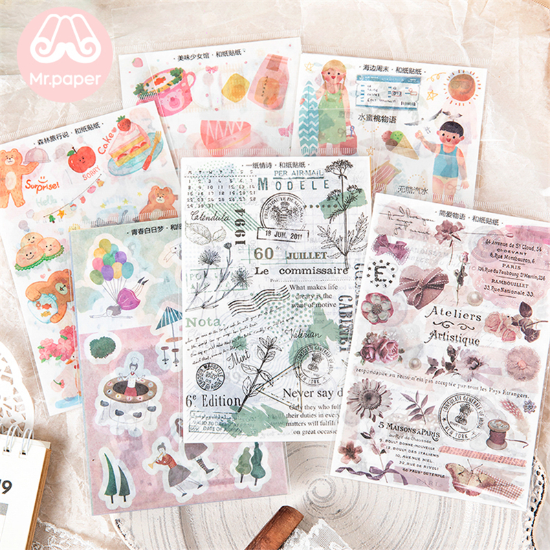 Mr.paper 6 Designs 3Pcs/lot Japanese Kawaii Romantic Flower Summer Beach Deco Stickers Scrapbooking Bullet Journal Deco Stickers