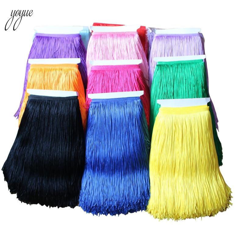 YOYUE 10 Yards 30cm Long Fringe Lace Tassel Polyester Lace Trim Ribbon Sew Latin Dress Stage Garment Curtain DIY Accessories