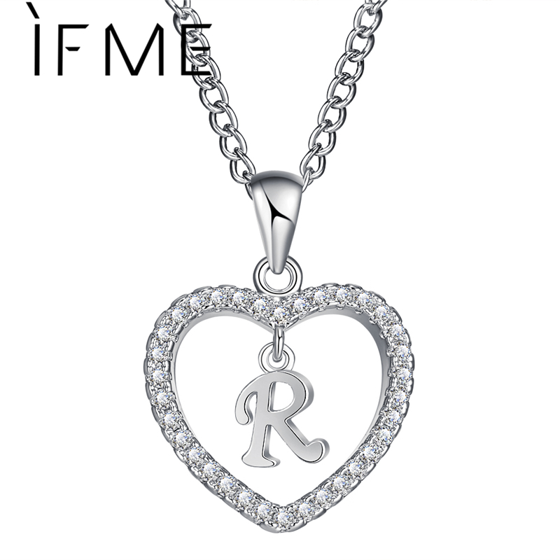 IF ME Rose Gold Silver Color Letter R Crystal Heart Necklaces & Pendants Statement Custom Jewelry Valentine Birth Couple Gifts