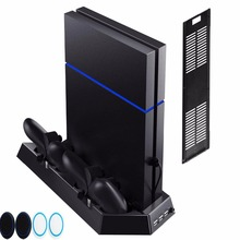 For PlayStation 4 Slim Console PS4 Slim 2 in 1 Vertical Stand w/ Cooling Fan Charger Charging Station w/ Dual Charger Ports USB 4 in 1 cooling cooler fan dual usb charger dock station charging bracket stand for ps4 gaming console with 3 port usb hub black
