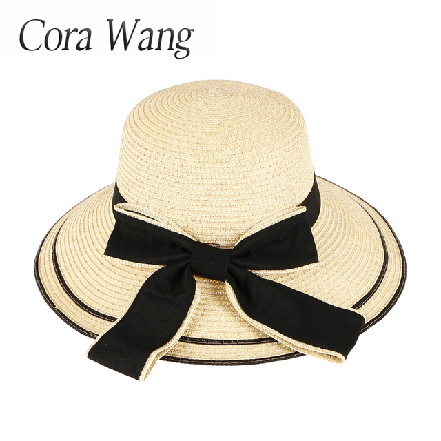 Sun Hat Big Black Bow Summer Hats For Women Foldable Straw Beach Panama Hat  Visor Wide 14141f5ff39