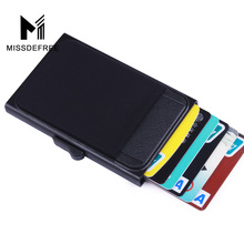 Aluminum Wallet With Back Pocket ID Card Holder RFID Blocking Mini Slim Metal Wallet Automatic Pop up Credit Card Coin Purse цены