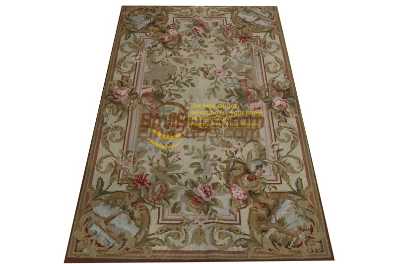 Hand Woven Wool Carpet With Needlepoint Pattern Wool