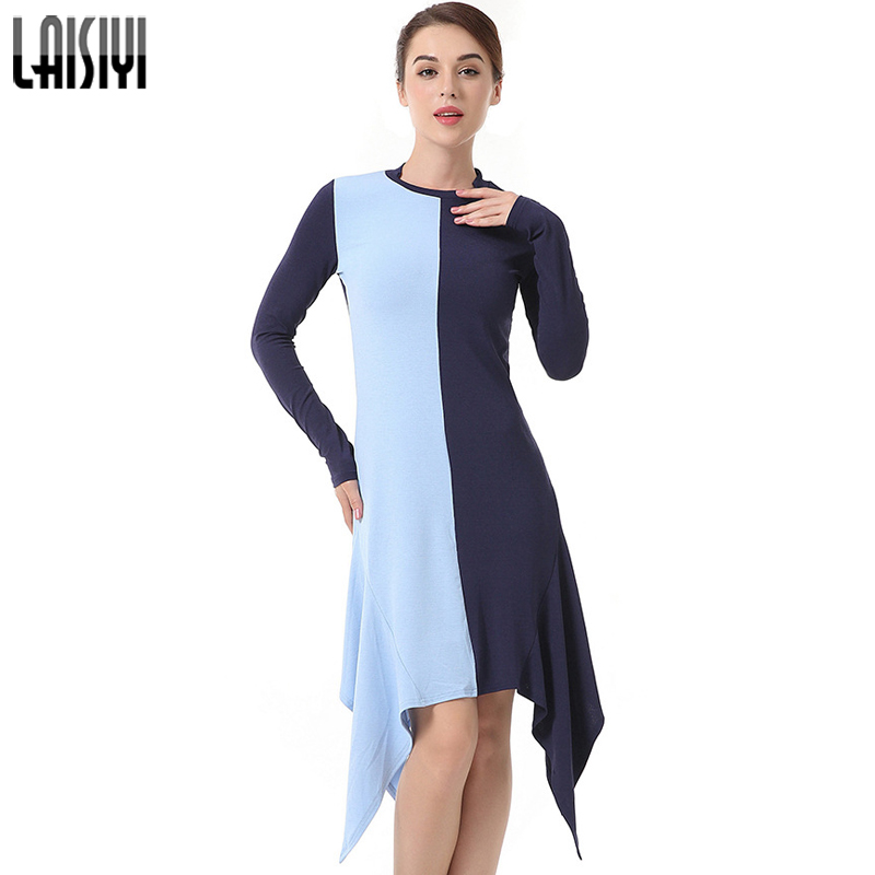 LAISIYI Ruffle Long Sleeve Casual Irregular Winter Dress Women Patchwork A Line Autumn Knitted Midi Dresses Vestidos ASDR50347