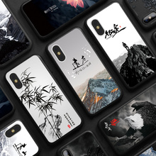 Landscape Natural Scenery Case For Iphone X 10 Mountains Bamboo Eagle Flower Color Painting Frosted Back Cover for IPhone X Case(China)