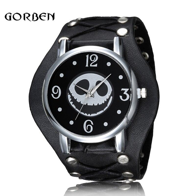 Nightmare Before Christmas Skull Punk Style Wristwatch Leather Strap Quartz Men Watch Clock Halloween Gifts Relogio Masculino|feminino|feminino masculino|feminino relogio - title=