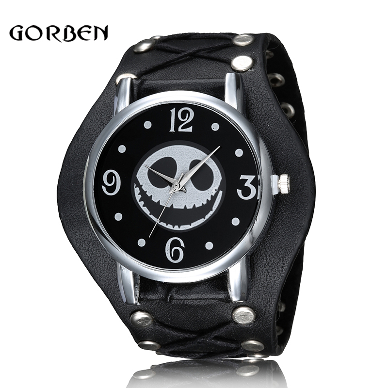 Nightmare Before Christmas Skull Punk Style Wristwatch Leather Strap Quartz Men Watch Halloween Gifts Relogio Masculino