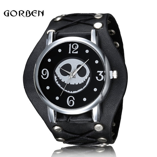 Nightmare Before Christmas Skull Punk Style Wristwatch Leather Strap Quartz Men Watch Halloween Gifts Relogio Masculino Feminino