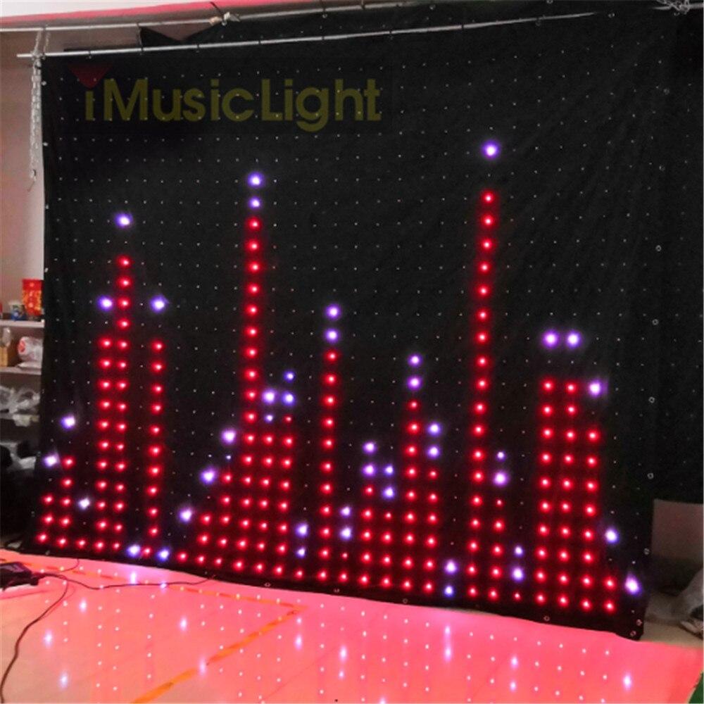 P10 2.5 M X 3 M PC/Controlador DMX LED Visão Cortina Do Palco Fundo DJ LEVOU Vídeo Tela Flexível cortina