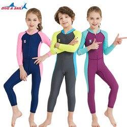 Marque de voile de plongée UPF 50 + enfants protecteurs d'éruption de plongée maillot de bain une pièce pour fille garçon plage UV soleil vêtements de protection costume de natation