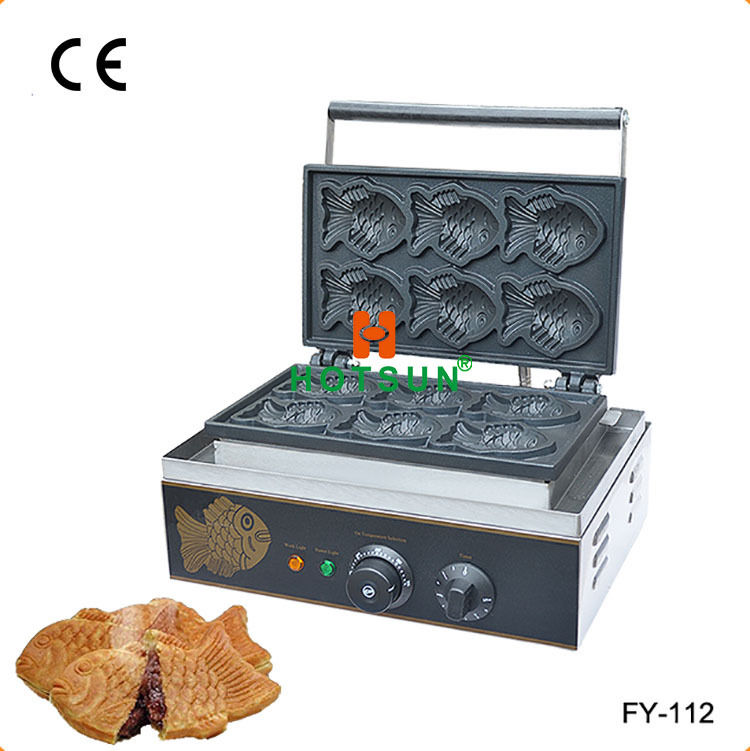 Free Shipping Commercial Non-stick Electric 6pcs Japanese Taiyaki Fish Waffle Maker Iron Baker Machine commercial non stick 110v 220v electric 12pcs taiyaki fish waffle maker iron machine