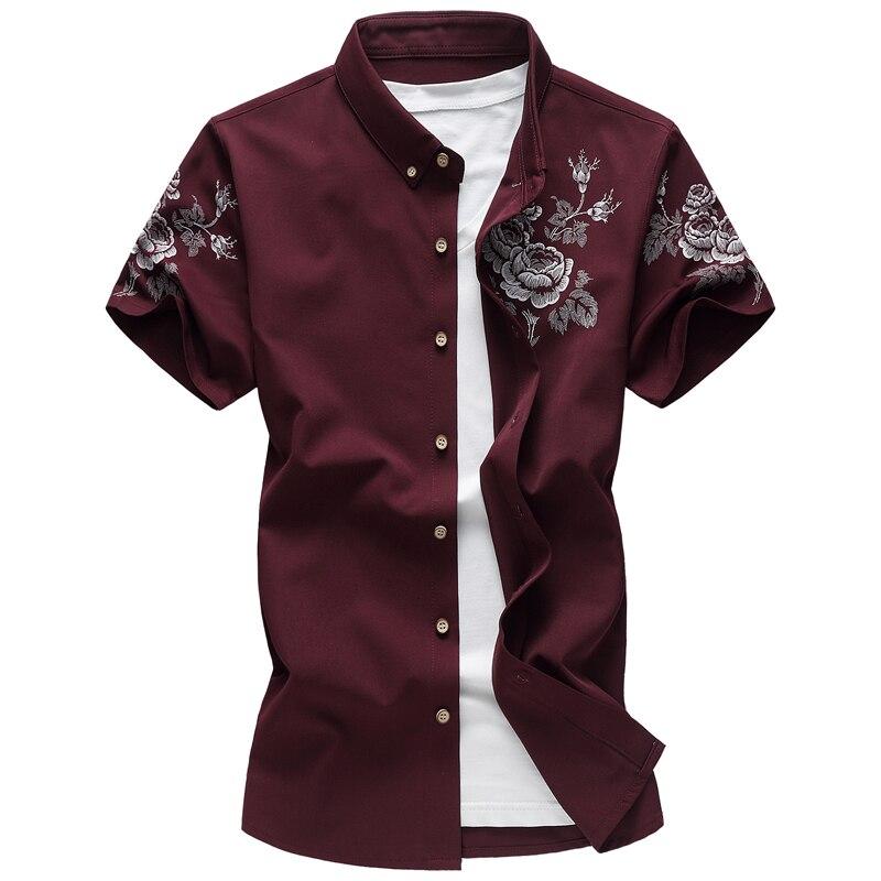 2017 Sommer Britischen Stil Männer Kurzarm Shirts Männer Druck Männer Hohe Qualität 100% Baumwollhemd Große Größe M-6xl Nachfrage üBer Dem Angebot