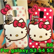 3D Cute silicone hello kitty Cartoon Case With Pendant Rubber Back Protective Cover For Samsung galaxy S3 S4 S5 S6