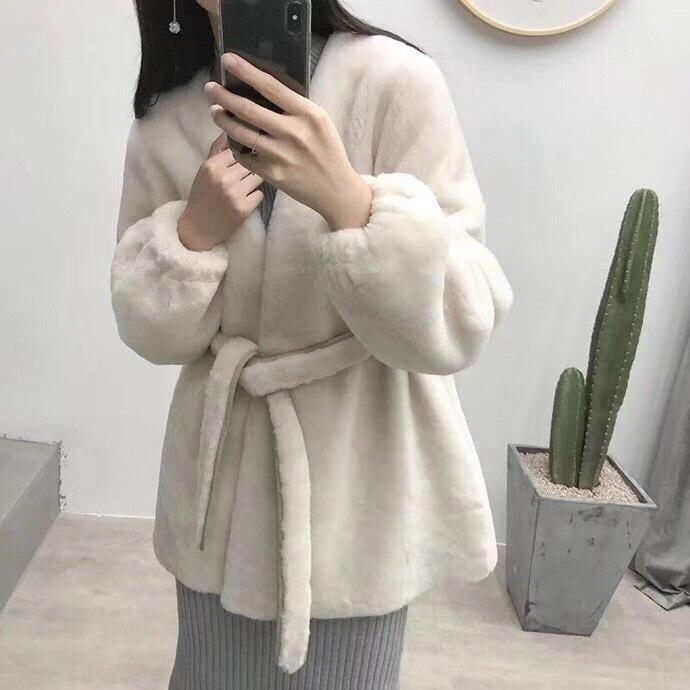 Kurze 1 Frauen Mantel Japanische Marke Wolle Neue Oberbekleidung 2 Winter Jacke Gelb 2019 Dick Echt Pelz Gürtel Parka Natürliche Casual PxgzHF