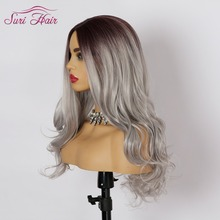 Suri Hair Long Wavy Wigs cosplay Synthetic Wigs For white Women American Afician hair Two Tone Ombre Silver Grey Fake Women Hair vogue twisted rope braid silver ombre white long synthetic hair extension for women