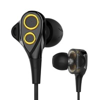 UiiSii T8s Wire Dual Dynamic Moving Iron In Ear Earphones With Volume Control And Mic For