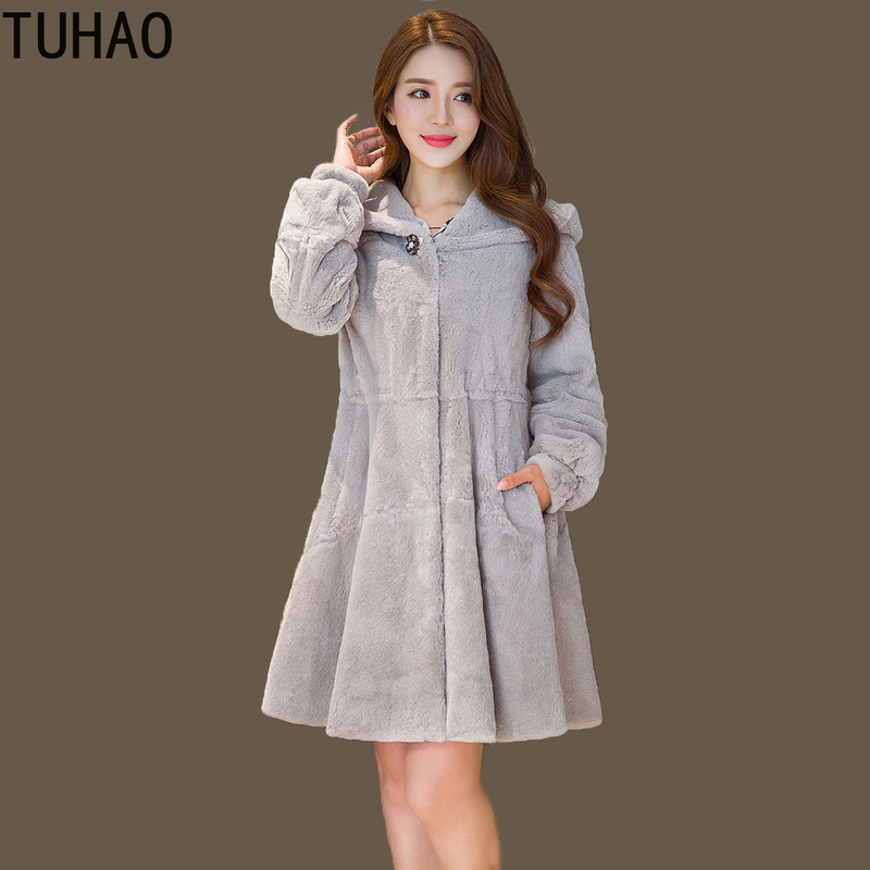 TUHAO 2018 Winter Office Lady Casual Furry Faux Fur Coats Women Fake Fur Coat Female Coat