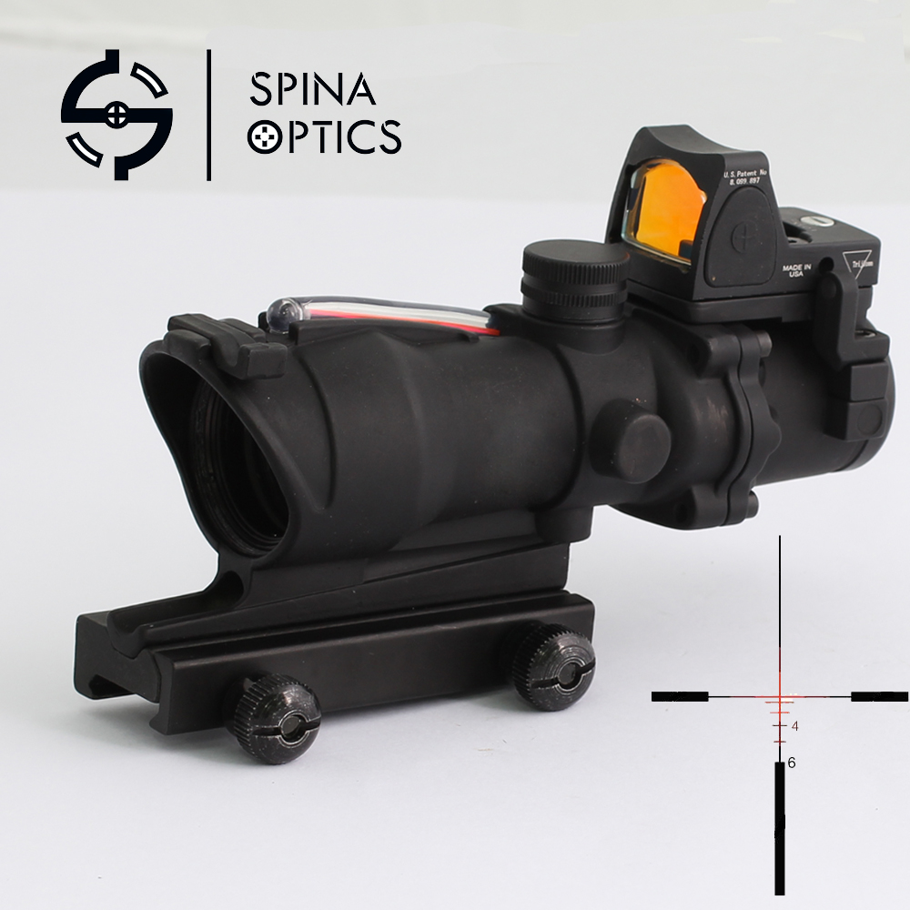 SPINA OPTICS Tactical Airsoft ACOG 4X32 Sight Scope Real Red Fiber Source Red Illuminated Rifle Scope RMR Micro Red DotSPINA OPTICS Tactical Airsoft ACOG 4X32 Sight Scope Real Red Fiber Source Red Illuminated Rifle Scope RMR Micro Red Dot