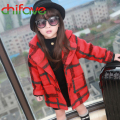2015 Fashion Baby Girls Loose Long Coat Children England Style Plaid Warm Jacket Single Breasted Autumn Winter Kids Girl Outwear