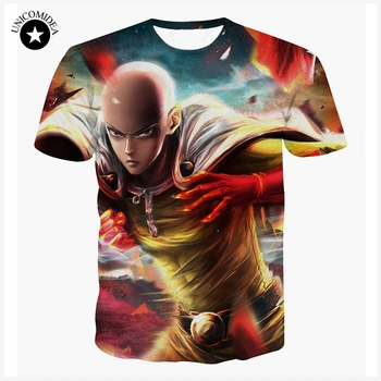 Fashion One Punch Man T Shirts Men's Tops Anime Hero Saitama Casual Short Sleeve T-shirt Fashion 3d Cartoon Printed Tops