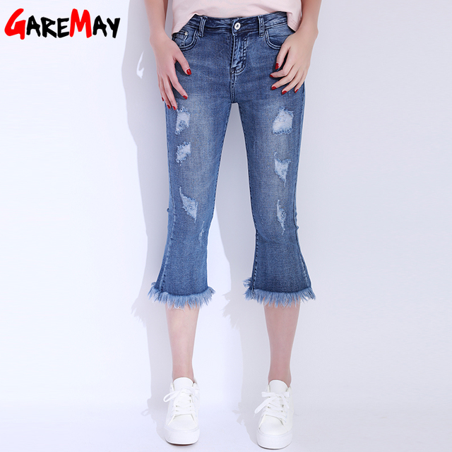 Aliexpress.com : Buy Ripped Jeans For Women Tassel Capris Summer ...