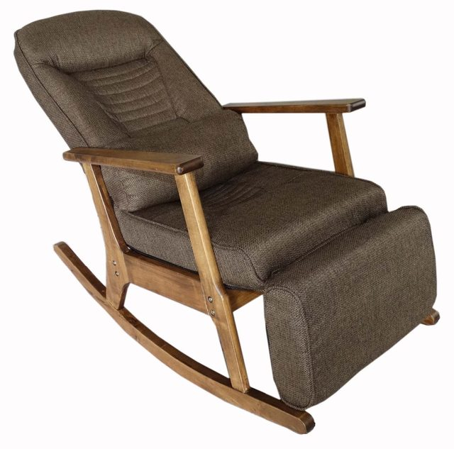 Vintage Furniture Modern Wood Rocking Chair For Aged People Japanese Style  Recliner Easy Chair With Armrest PulletOut Footstool