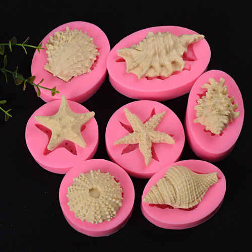 New 3D Cute Beach Sea Shells Silicone Fondant Mould DIY Cake Sugarcraft Fondant Mould Mold 4 Types