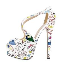 Newest 2019 Peep Toe Printed Leather High Heel Shoes Woman Summer Slip on Party Dress 14cm Cross Strap Platform
