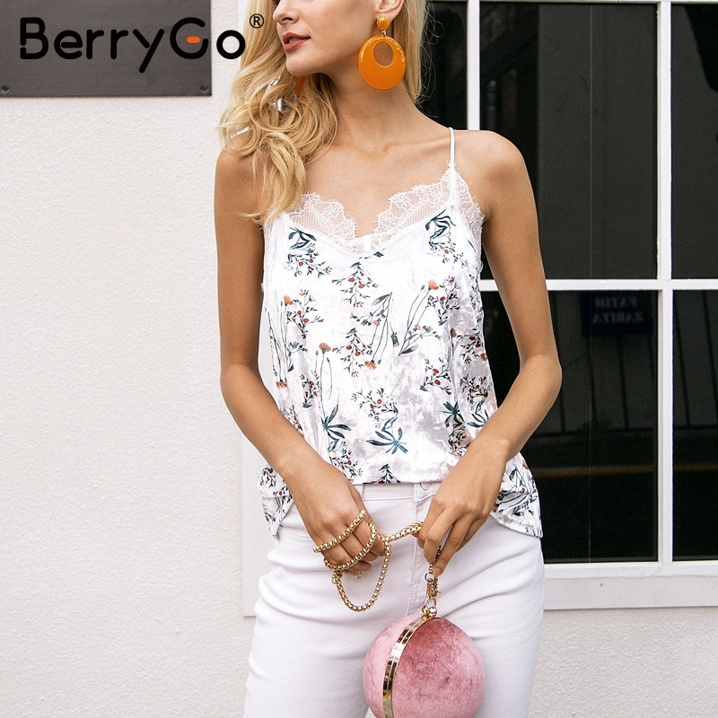 BerryGo Casual strap velvet camisole women   tank     top   Sexy button lace   top   female Autumn streetwear backless chic cami 2017