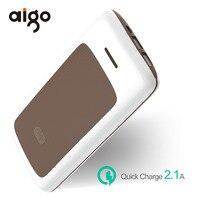 Aigo 20000mAh Power Bank Fire Resistant Dual USB Port Stripe Design Micro USB Input Powerbank Mobile