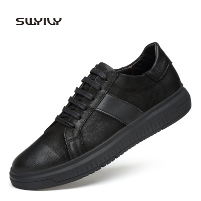 SWYIVY Men s Skateboarding Shoes Genuine Leather Black Sneakers Men Shoes 2018 New Low top Flat