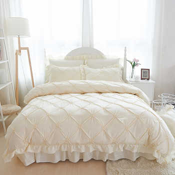 4/6pcs Hand-made Princess Quilt/Duvet Cover Wedding 100% Cotton Ruffles Bedspread Bed Skirts Bedclothes Bedding Sets Beige/Blue - DISCOUNT ITEM  33% OFF All Category