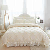 4/6pcs Hand made Princess Quilt/Duvet Cover Wedding 100% Cotton Ruffles Bedspread Bed Skirts Bedclothes Bedding Sets Beige/Blue
