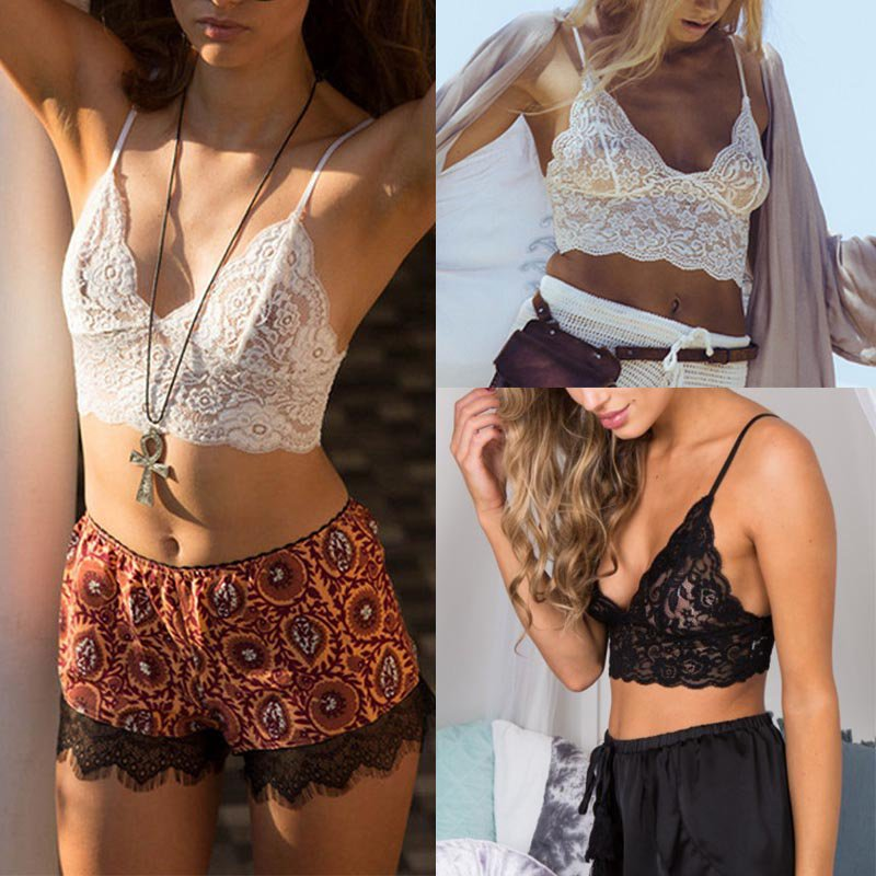 e614256583 2017 New Arrival Soft Sexy Women s Bralet Bra Summer Lace Floral Vest With  Halter Crochet Unpadded Bustier Crop Top Cami Tank -in Camis from Women s  ...