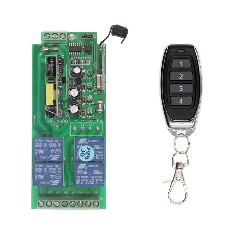 Universal AC 220V 110V 85-265V 10A Relay Wireless RF Remote Control Switch Transmitter+Receiver Module,315 / 433.92 MHz 660v ui 10a ith 8 terminals rotary cam universal changeover combination switch