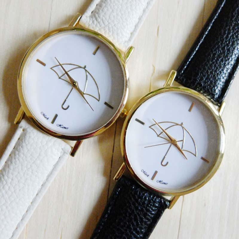 Eco789 HOT New Womens font b Watch b font Umbrella Style Print Leather Band Women Analog