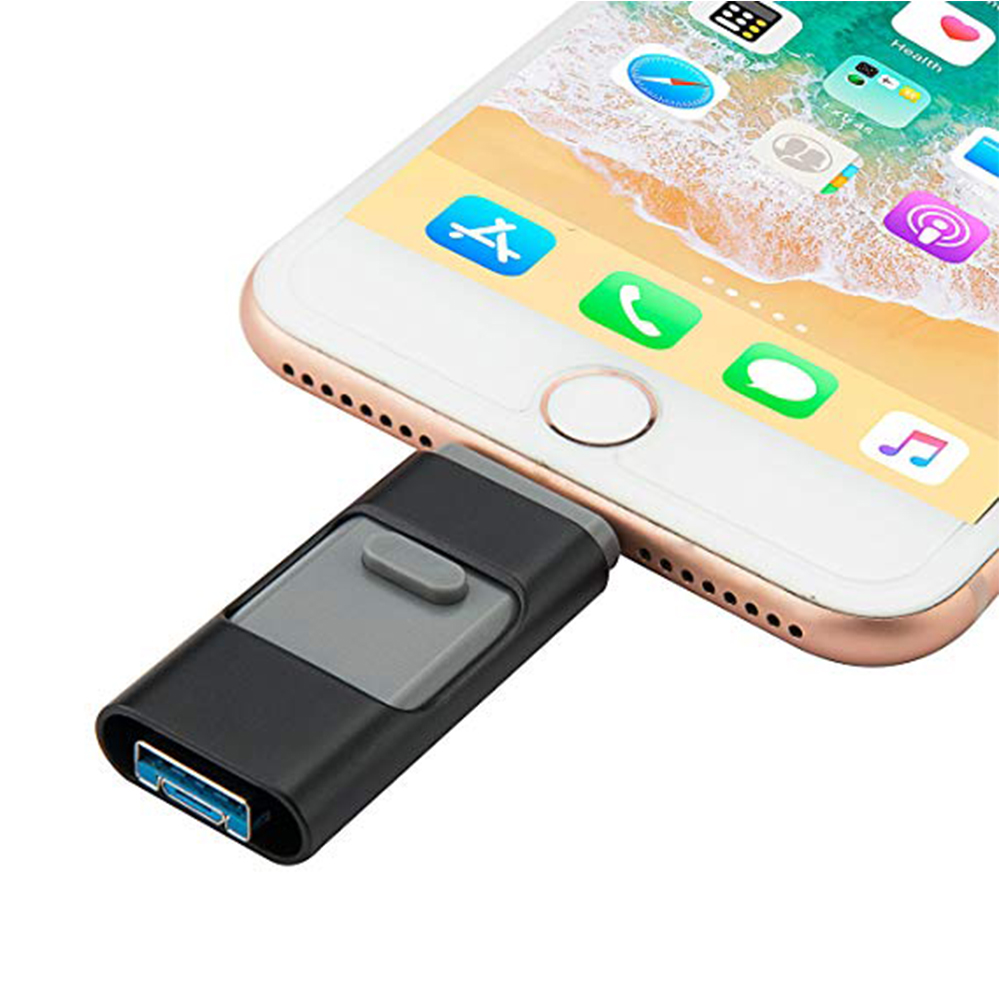 USB Stick 128GB ,USB 3.0 Flash Drive Photo Stick 3in1 For IPhone Memory Stick External Encryption Storage USB Drive (Black 128G)