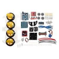 4WD DIY Smart Chassis Car Kit Module For Arduino For UNO R3 + Ultrasonic Module+Motor drive board