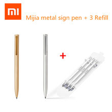 2018 Original Xiaomi Mijia Metal Sign Pen 9.5mm Signing Pen PREMEC Smooth Switzerland Black Refill Gold/Silver Black blue ink(China)